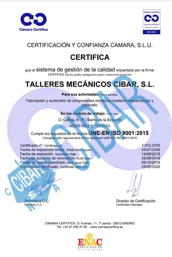 Certificado UNE 9002 2015 DE CIBAR